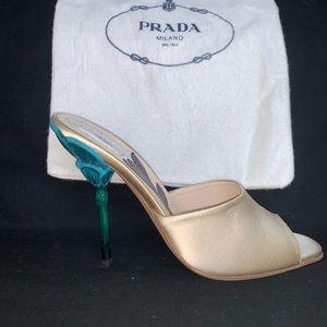 Prada painted flower heel beige mules 37 NEW